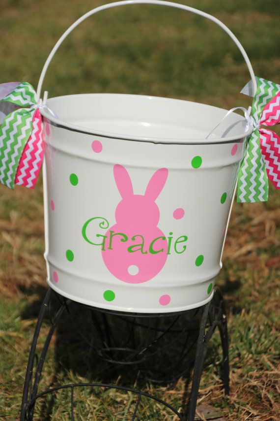 Custom Made Easter Basket Metal Pail Monogram Personalized with Bunny and Name