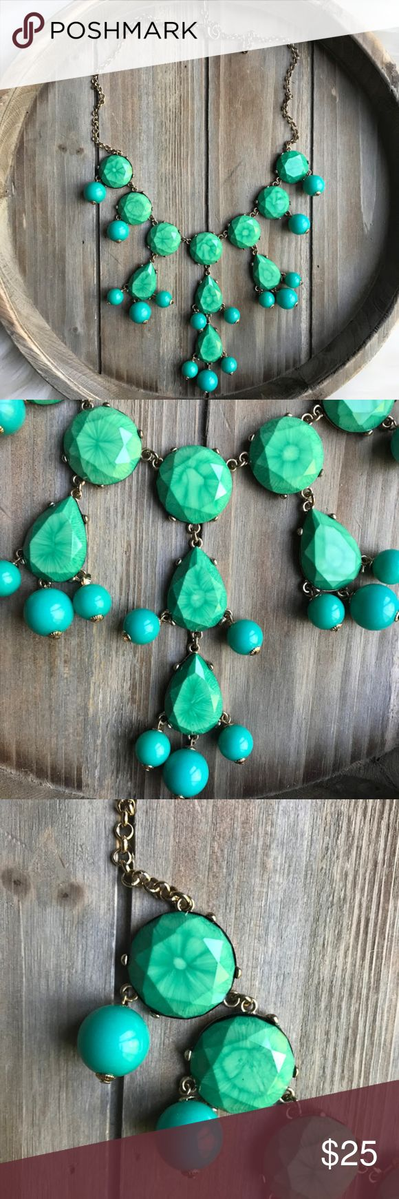 green turquoise bubble necklace- unique stone! Condition: Great (some discoloration on round charm hanging from clasp- see last picture) Color: Green turquoise stone & gold chain  gift with purchase! Jewelry Necklaces