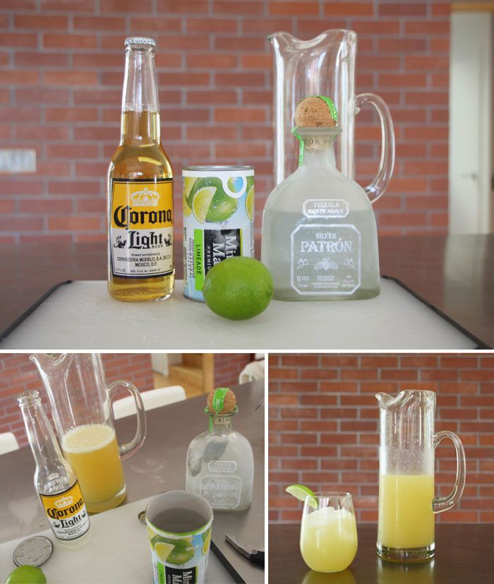 """Texas Style """"Beer Rita's"""" – Use 1 can of Minute Maid Frozen Limeade {pour in pitcher}. Refill the empty can with Tequilla {pour in pitcher}.  Use 1 Corona Light Beer {pour in pitcher}. Slice up a few limes and squeeze. Stir and serve with ice and optional salted rim. Cheers!"""
