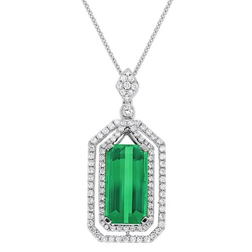 Spark Green Tourmaline and Diamond Pendant, one of a kind.  Creations Fine Jewelers Napa, CA 707-252-8131 www.creationsfinejewelers.com