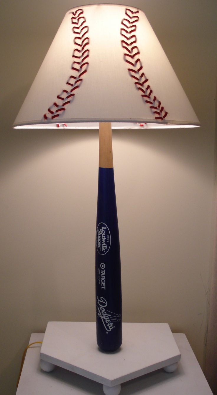 Lamp By Zach Amy Baseball Bat With Woven Red Leather Shade