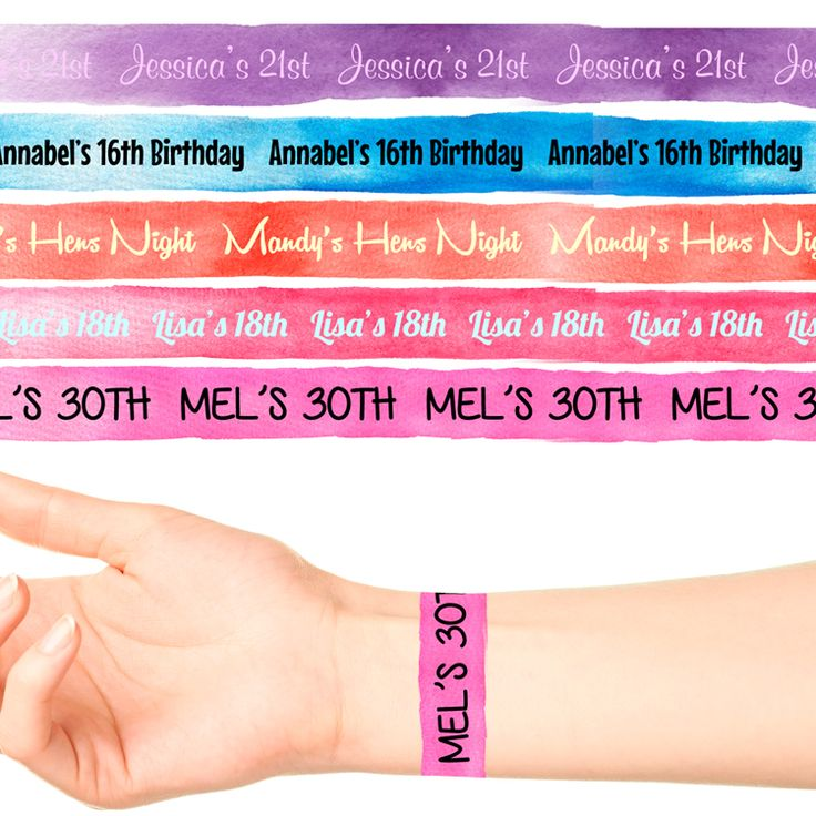 Wrist Band Personalised Tattoo #1092 (17 x 20cm Bands)