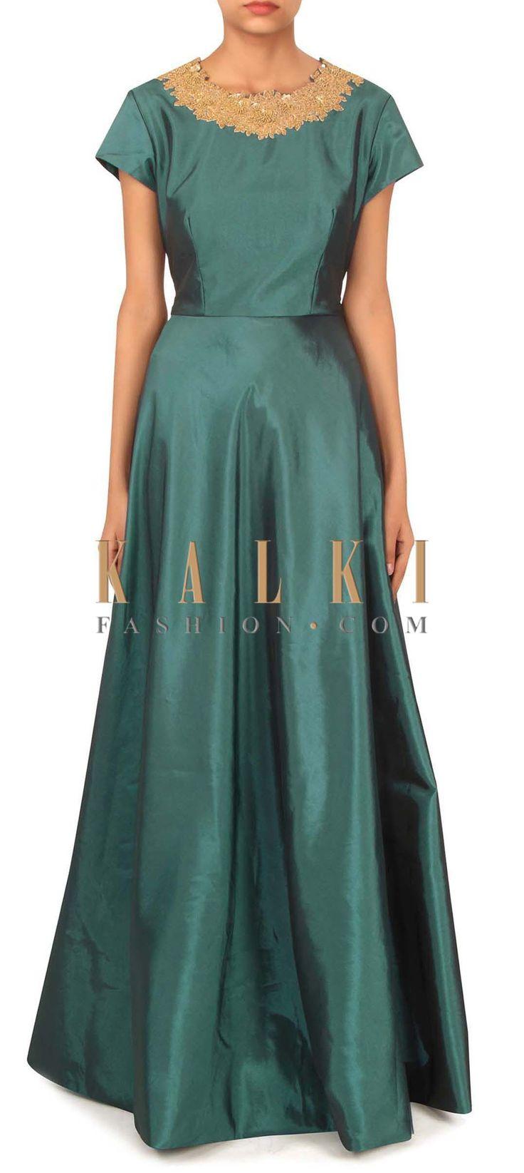 Teal blue dress with motif embroidered neckline only on Kalki