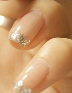 pretty!! Bridal Nails That Will Rival The Ring: Glitter tips maybe all turquoise with the ring finger silver