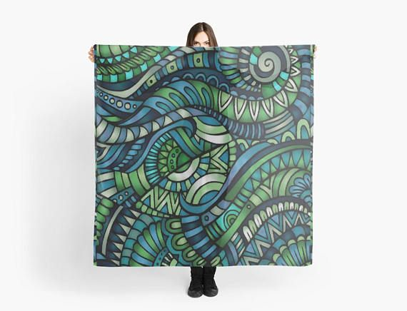 Street-art pattern blue/green scarf/wrap Foulard noir