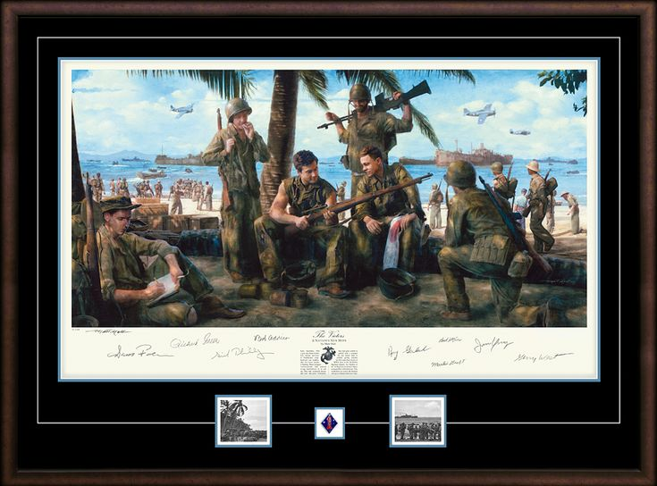 Sid Phillips, Robert Leckie, and the Marines of H-Company await their chance to leave Guadalcanal in this new autographed Matt Hall print. #ThePacific #SemperFi #Guadalcanal #StarvationIsland #NeverForget