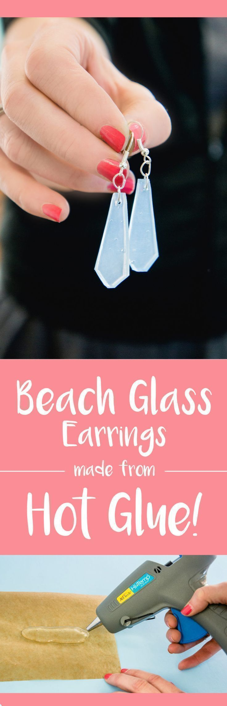 Do you LOVE sea glass? Make these super-realistic DIY Beach Glass earrings out of hot glue! Great craft for tweens, teens, girl scouts, seniors... Beach glass jewelry is lightweight and fun to make with your glue gun.  #thisishotglue #glueasamedium #adtech  http://www.thestudio.blog/diy-hot-glue-sea-glass-earrings-thisishotglue/ #earringsdiy #seaglasscrafts #seaglassjewelry #seaglassdiy