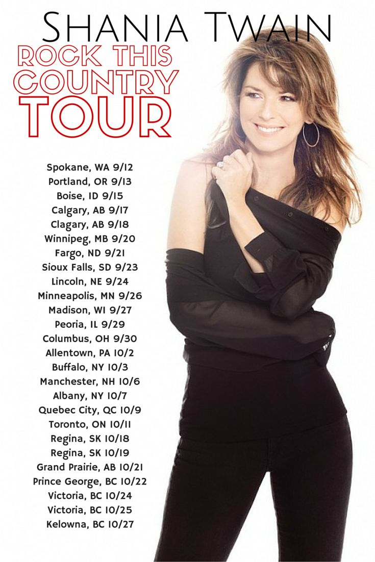 "Shania Twain's ""Rock This Country"" Tour September and October 2015 - Get Tickets http://www.viptickets.com/vipTicketsSchedules.aspx?ev=Shania-Twain-tickets"