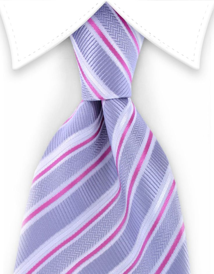 Silver & Pink Striped Tie