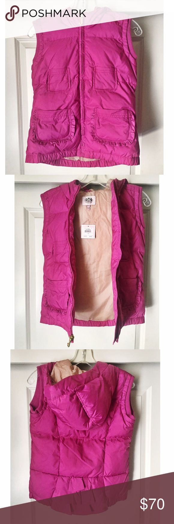 Juicy Couture pink vest NEW WITH TAGS Juicy Couture pink vest NEW WITH TAGS. Size 14, but fits like a small or would even fit an xsmall well! Juicy Couture Jackets & Coats Vests
