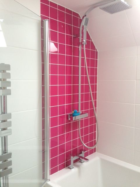 Compact   Bathroom   Small   Shower   Pink   Bright   Colourful