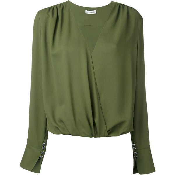 Altuzarra longsleeve V-neck blouse (482.725 CRC) ❤ liked on Polyvore featuring tops, blouses, green, green long sleeve blouse, green top, long sleeve tops, green blouse and v neck blouse