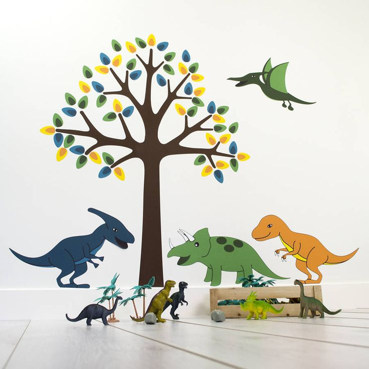 Tree With Dinosaurs Wall Stickers  Dinosaur Wall Decals  Boys Wall Art  Bedroom  Wall Transfers   Removable and Repositionable. Best 25  Dinosaur wall stickers ideas on Pinterest   Dinosaur wall