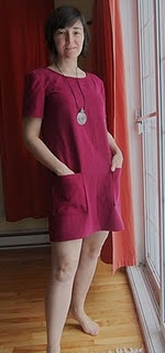 Shift dress, made using pattern McCall's 9172 (1990s) and cranberry linen.