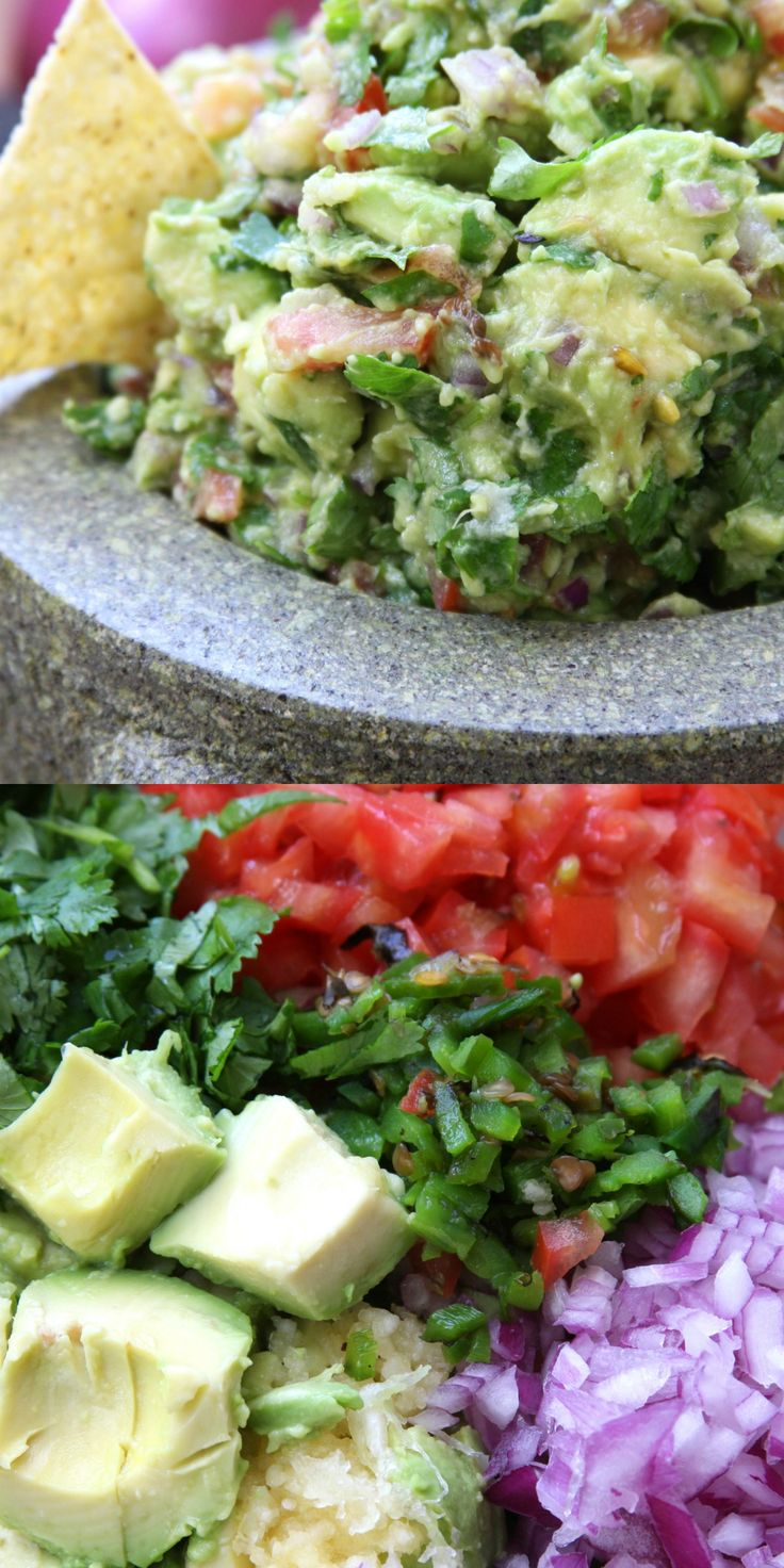 Simple Healthy Guacamole recipe is an authentic fresh and flavorful Mexican dip. Chunky avocados, tomatoes, jalapeño and garlic. This recipe will spoil you for the other guacamoles.
