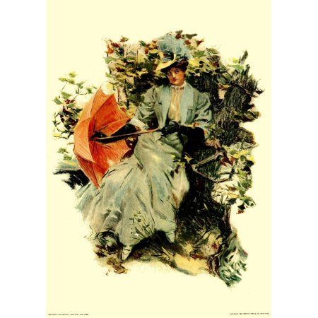 Our Girls 1907 Lady with red umbrella Canvas Art - Howard Chandler Christy (18 x 24)
