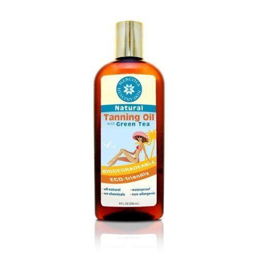 Mercola's Natural Tanning Oil With Green Tea 8 fl oz by Mercola. $15.43. Waterproof. 100% natural, including green tea extract to reduce sunburn risk. Completely hypoallergenic. No chemical preservatives, including zero parabens. 100% biodegradable and eco-friendly. Natural Tanning Oil (8fl oz per bottle)  Many of the most popular products on the market today contain ingredients that you probably would NEVER consider putting on your skin if you knew what they really...