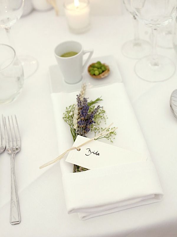Love love love the lavender in the menu!! I'd tie a burlap ribbon w/ a simple bow to hold in place rather than it being loose like that. Super cute!!!
