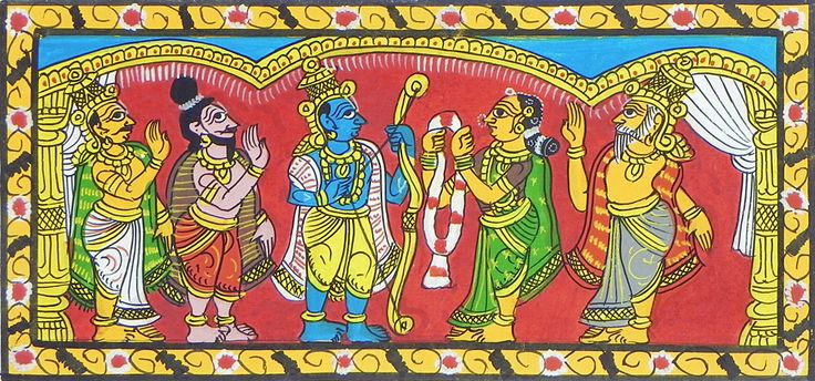 Wedding of Rama and Sita (Cheriyal Paintings on Canvas - Unframed)