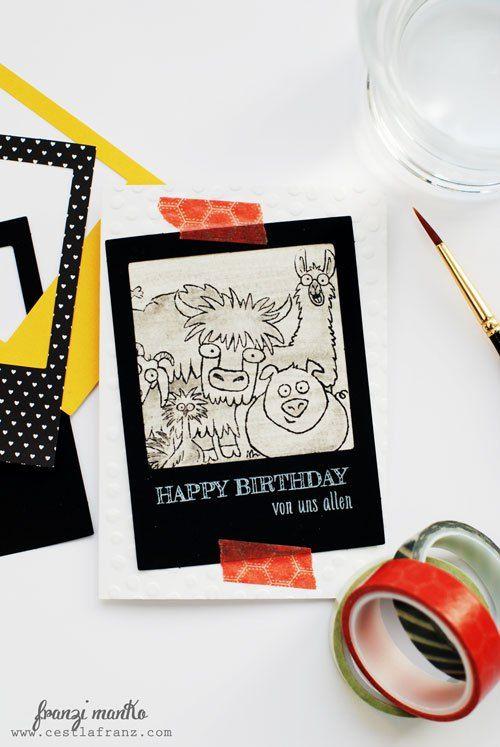 Happy Birthday … von uns allen! Birthday card using Stampin' Up! from the herd stamp set // Geburtstagskarte mit dem Stempelset Von der ganzen Rasselbande von Stampin' Up!