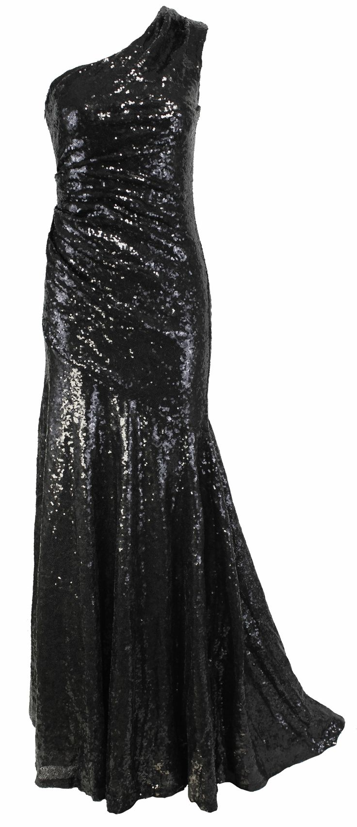 WOMENS FISHTAIL ONE SHOULDER SEQUIN SHEATH COCKTAIL MAXI LADIES EVENING DRESS