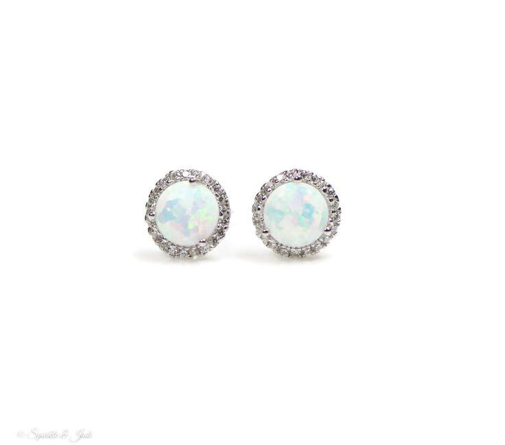 Sterling Silver White Opal and CZ Halo Earrings - Sparkle & Jade, SparkleAndJde.com, [product_sku]
