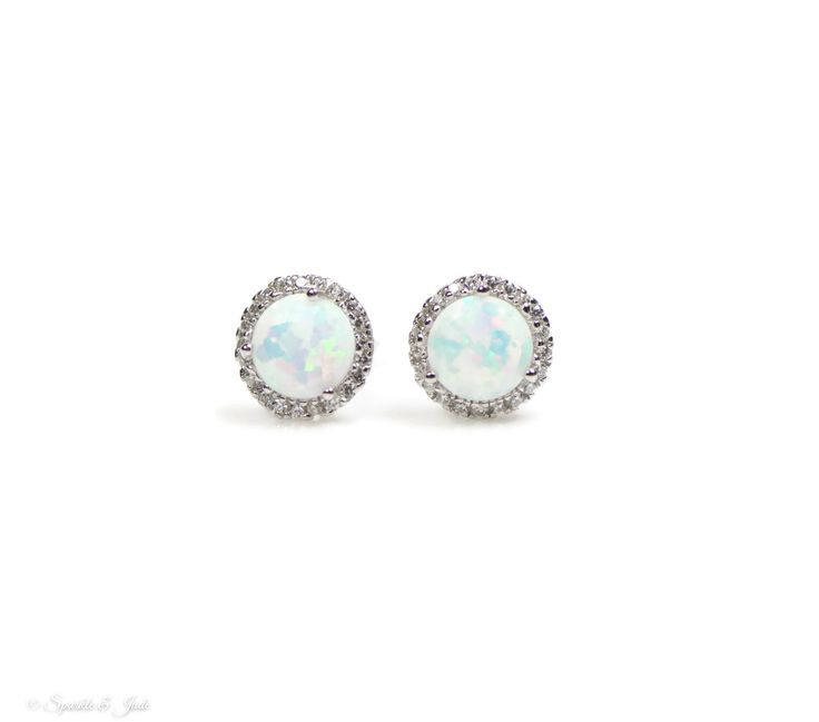 10mm Sterling Silver White Opal and CZ Halo Earrings