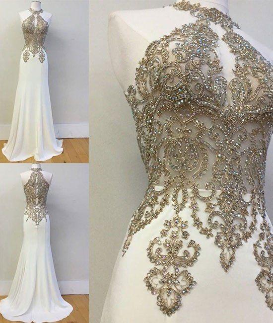 white high neck lace applique long prom dress, evening dress