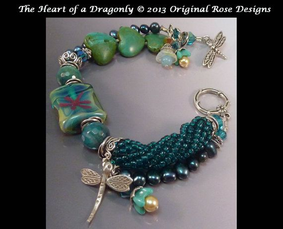 The Heart of the DragonflyLampwork & turquoise by originalrose