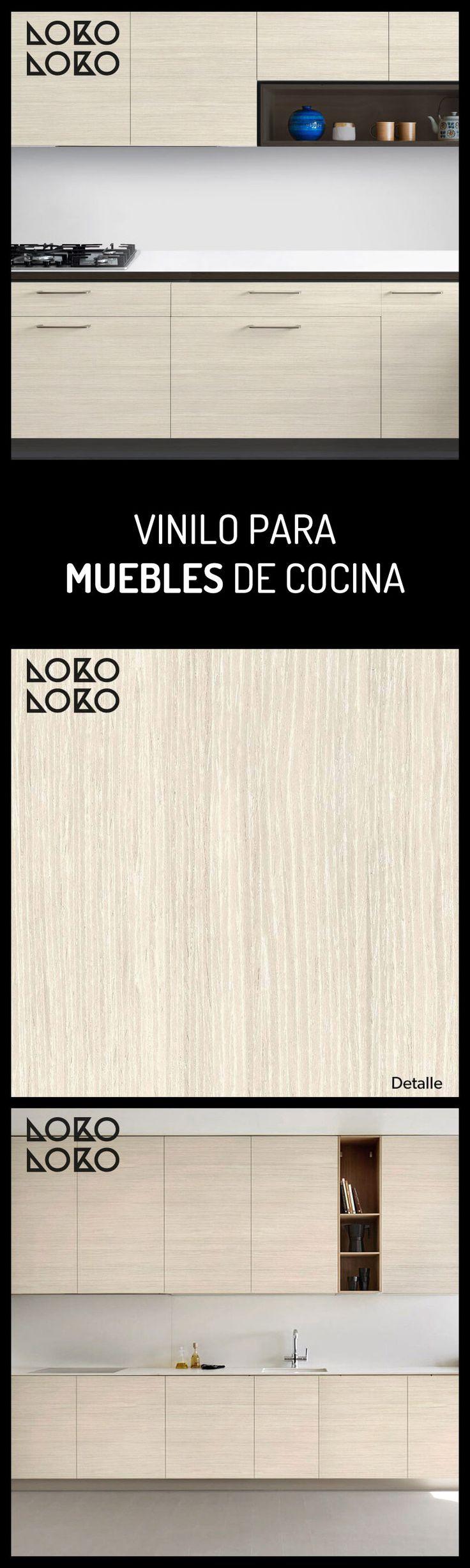 Vinilo para muebles y puertas de cocina. Textura imitada de madera nórdica para redecorar. #lokolokodecora