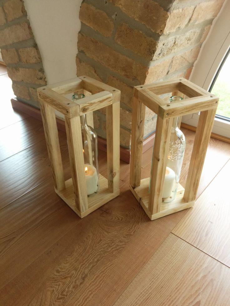 garden candle holder , wine bottle and pallet wood , home entrance, inside di GARAGEbySilvio su Etsy