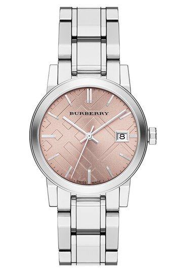 Burberry Medium Check Stamped Bracelet Watch, 34mm available at #Nordstrom