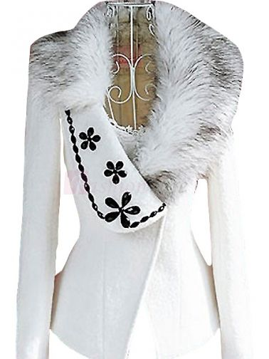 Amazing Fur Collar Floral Beads Decorated Nipped Waist Full Sleeve Women Nylon Trench Coat on fashionsure.com