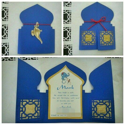 Aladdin / Jasmine themed birthday party. Invitation ideas. Wording. DIY invite. Jazmin. Aladino.