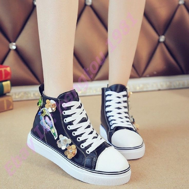 Hot Ladies Shiny Pailetter Decor Canvas High Tops Fashion Lace Up Ankle Boots