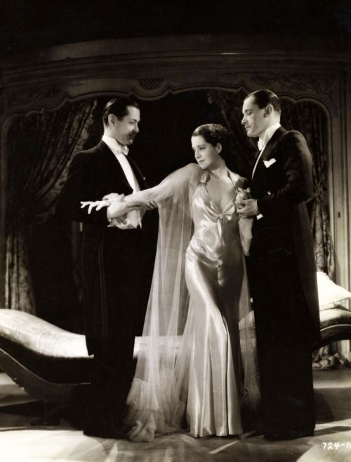 "Norma Shearer with Robert Montgomery and Herbert Marshall, ""Riptide"", 1934"