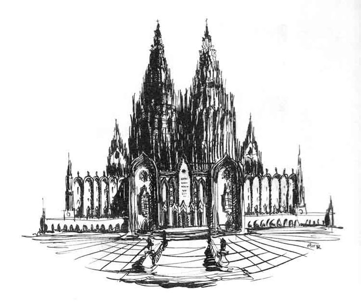 "Pen and ink architectural design for a cathedral by Hungarian Moric Pogany for his book of 50 drawings, ""Dreams of an Architect.""  Published in 1926, the book had a foreword by Max Reinhardt. Editions were printed in Hungarian, English, and German."