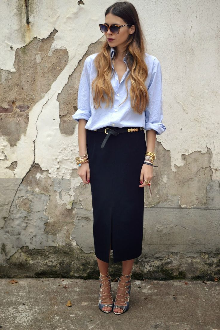 Sophisticated chic in a midi skirt and a classic button down http://rstyle.me/n/nxh4w4ni6