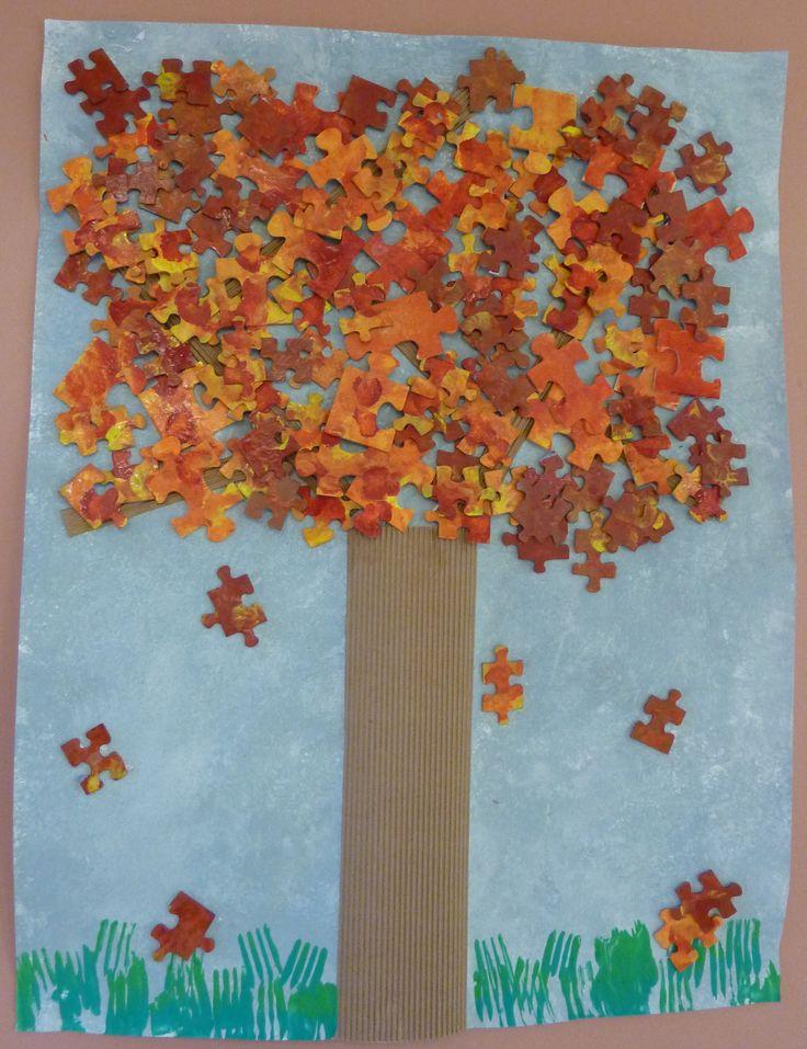 MATERNELLE-ARTS VISUELS-AUTOMNE-arbre puzzle d'automne - laclassedelena