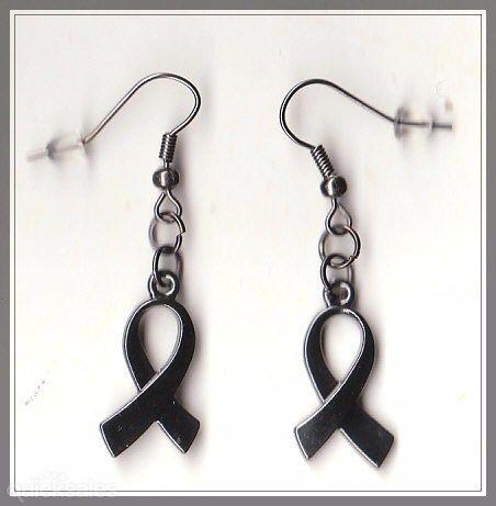 Ribbon Charm Gunmetal Grey Earrings  by MadAboutIncense - $8.50