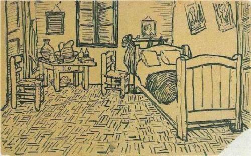 Vincent's Bedroom in Arles - Vincent van Gogh 1888, Arles, Bouches-du-Rhone Ink on paper, study for a letter Van Gogh Museum, Amsterdam