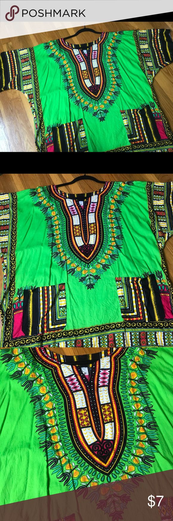 Lime Green Dashiki Shirt Dashiki shirt from Jamaica / OSFA from Small to Large / Great condition Tops