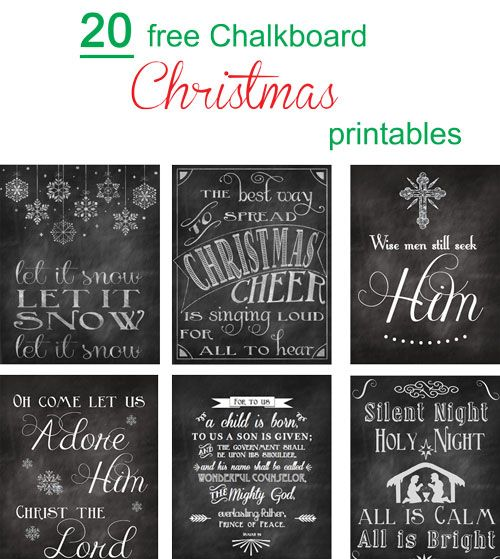 I love Christmas Printables! There's something about sprinkling cute Christmas sayings, Bible verses, and song lyrics around the house that just make my heart happy. And they always put me in the Christmas mood every time I look at them. So today, I'm rounding up twenty of my favorite holiday chalkboard printables for you to look at! Merry Christmas to you all and happy downloading!
