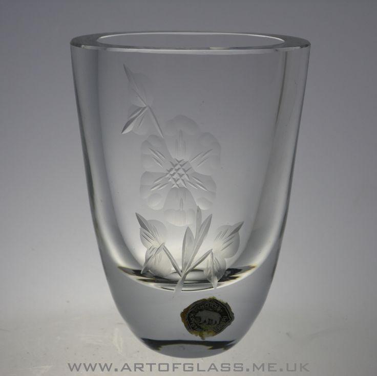 Norwegian engraved glass vase