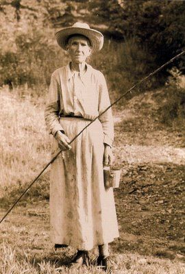 """Great Smokey Mountains, 1937. Clem Enloe, 84, let a photographer take her picture in exchange for a box of snuff. She refused to observe the park's fishing regulations & fished year-round. She would snap... """"Big Park man or Little Park man, you son of a bitch, I fish when I please, winter or summer."""""""
