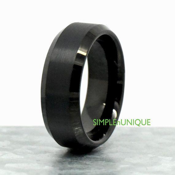 Black Tungsten Wedding Band Black Tungsten Ring by SIMPLEnUNIQUE