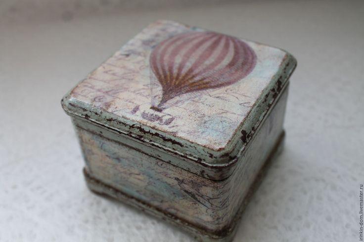"""Купить шкатулка """"Путешествие"""" - бордовый, голубой, воздухоплавание, воздушный шар, шкатулка для укашений, шкатулка дерево"""