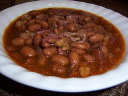 Crockpot Ham Hocks and Beans. Dinner tonight. Yummy. Threw it together in the am and spent ALL day @ the park with my boys. ❤