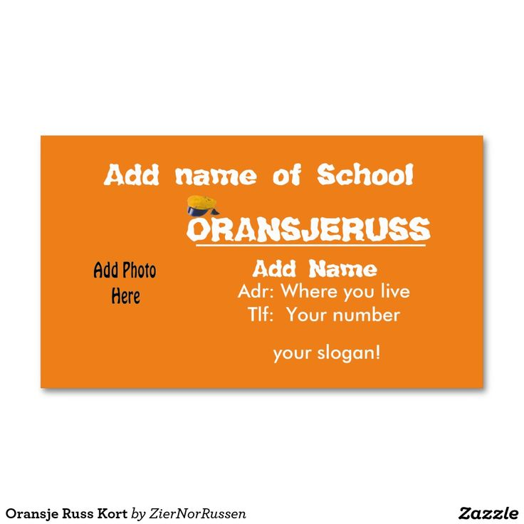 Oransje Russ Kort Double-Sided Standard Business Cards (Pack Of 100)