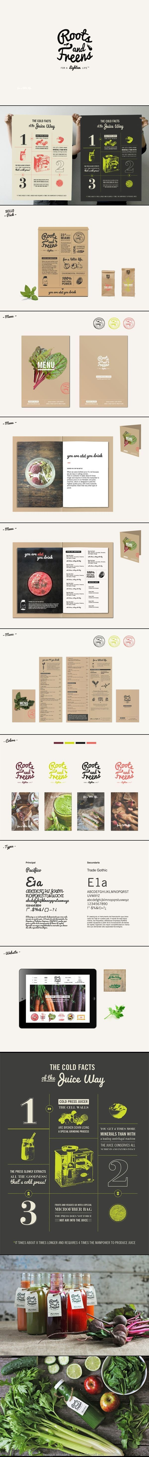 Roots & Freens restaurant identity and branding. I love this modern menu and farm stand inspired #stationary. #branding